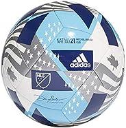 adidas,Mens,MLS Club Ball,White/Bright Cyan/Iron Metallic/Pantone,3