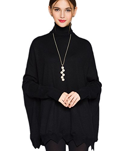 MML Womens Turtleneck Long Sleeve Loose Knit Top Cable Pullover Sweaters (One Size, Black-A) (Tunic Sweater Long Sleeve)