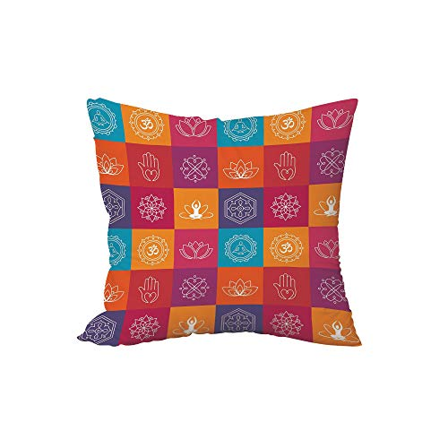 iPrint Throw Pillow Cushion,Yoga,Colorful Collection of Yoga Icons and Relaxation Symbols Wellness Harmony Health Zen,Multicolor,15.7x15.7Inches,for Sofa Bedroom Car Decorate