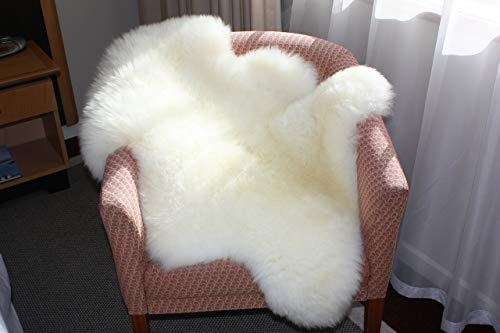 A-STAR White Real Sheepskin Rug 2x3 - Single Pelt  Sheep Skin Fur Rug