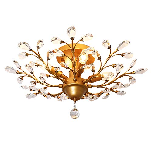 Garwarm 4-Light Vintage Crystal Chandeliers Ceiling Lights LED Light Crystal Pendant Lighting Ceiling Light Fixtures Chandeliers Lighting for Living Room Bedroom Restaurant Porch Chandelier(Golden)
