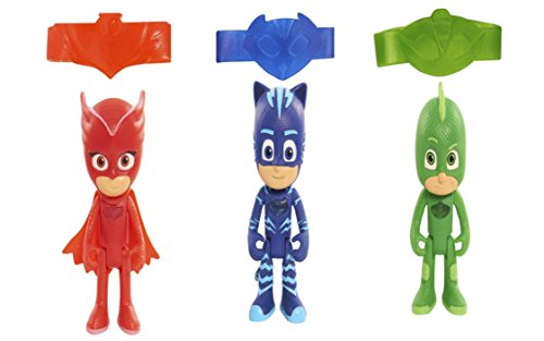 PJ Masks Light Up Disney Junior Bracelet Action Figure Set - Gekko, Catboy, Owlette (Homemade Christmas Costume Ideas Men)
