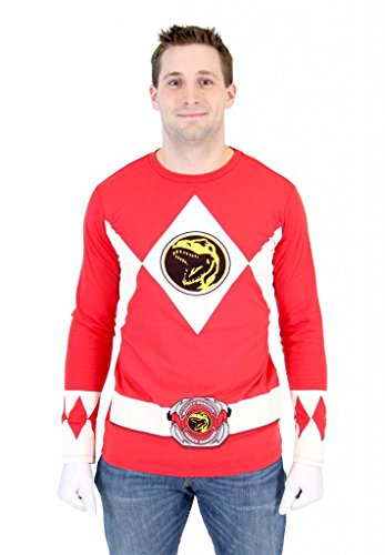 Mighty Morphin Power Rangers Costume T-shirt (Power Rangers Red Ranger Long Sleeve T-Shirt & Gloves (Adult Large))