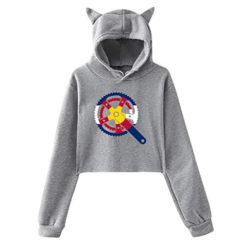 Cat Ear Hoodie Sweater for Womens Colorado Crank Fashion Exposed Navel Hoody Sweater -