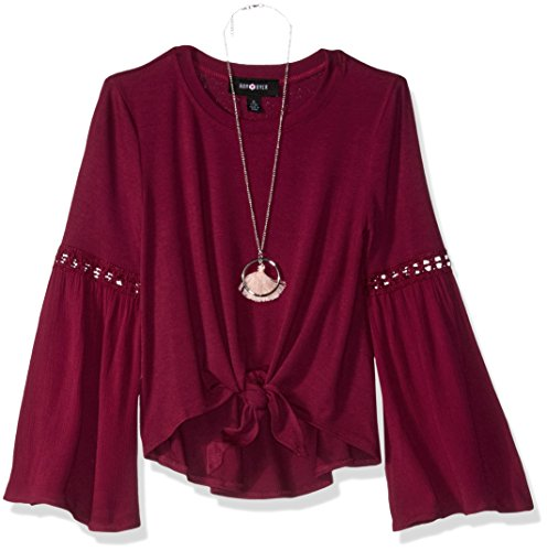 Amy Byer Big Girls' Long Sleeve Mix up Top Necklace, Boho Plum, S by Amy Byer