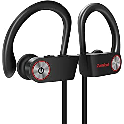 Bluetooth Earphones, IPX7 Waterproof Sport Wireless Headphones,HiFi Stereo in-Ear Headphones,Secure Fit for Running Jogging Hiking,Built-in Noise Cancelling Mic,Case (7-9Hrs)