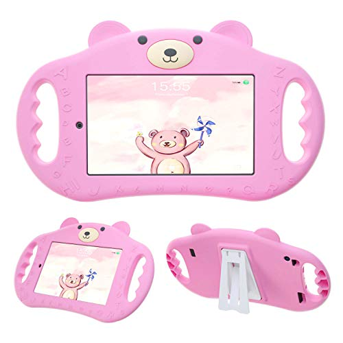 pzoz Tablet Case for Kids Compatible with 7 Tablet 7in Shock Proof Handle Protector Stand Girls Boys 7inch Cover for Tablet 7 inch 7th Edition Generation 2017 Release (Pink) (Cases 7inch For Tablet Kids Rca)