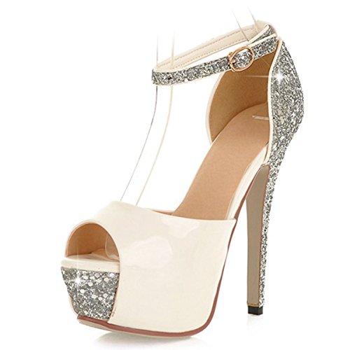 Blanco tacones hebilla purpurina Toe Stiletto Women de Fashion tobillo sandalias plataforma 's vimisaoi Correa PEEP con AZqtz