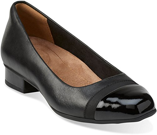 CLARKS Women's Keesha Rosa Pump Black Leather 9.5 Medium US