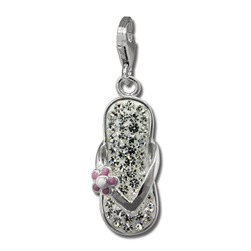 SilberDream Glitter Charm flip flop with white Czech crystals, white and purple enameled flower 925 Sterling Silver Charms Pendant for Charms Bracelet, Necklace or Earring GSC563W ()
