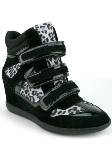 5a44ede4fe Cendriyon, Basket Compensée Noire Léopard HAYA Chaussures Femme Taille 41