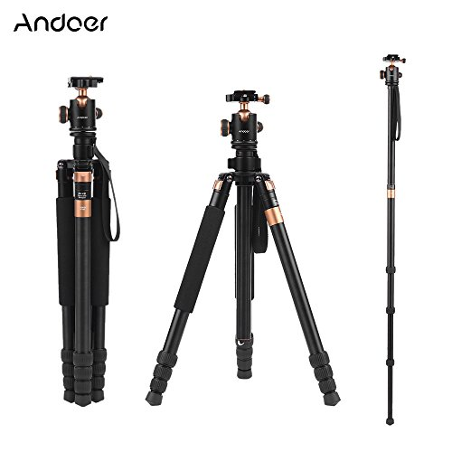 Andoer TP968 Aluminum Alloy 63Inch/ 160cm Portable Video Camera Tripod Monopod Unipod with 3-way 360 Degree Ballhead and Bag, Load 33lbs/15kg by Andoer