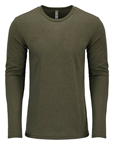 Army Green Apparel (Next Level Men's Performance Blended Long Sleeve Jersey, Large, Military Green)