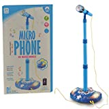 Toyexx Kids Karaoke Machine Children Microphone Music Toy Play Set & Adjustable Stand, AUX Cable to Connect to Your Mobile Phone for Music-Blue Color