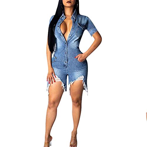 IyMoo Sexy Club Rompers and Jumpsuits for Women-Short Sleeve Button Down V Neck Ripped Distressed Demin Jean Shorts Romper Jumpsuits with Pockets Blue M