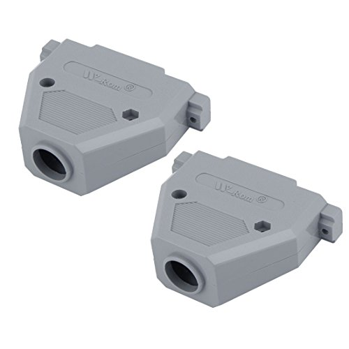 2pcs Gray Shell Plastic Hood Cover D-Sub DB37 37 Pin for Data Cable (Hood D-sub)