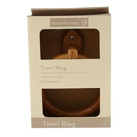 Ardisle Bamboo Wood Wall Mounted Towel Ring Holder Bathroom Wooden ...