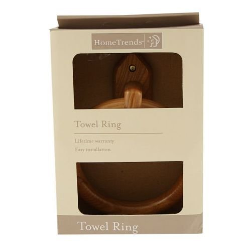 Ardisle Bamboo Wood Wall Mounted Towel Ring Holder Bathroom Wooden Kitchen Bath Cloth