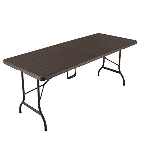 Adeco Patio Folding Table with wooden design, Brown