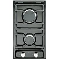Verona VEGCT212FE 12 Deluxe Gas Cook Top with 2 Sealed Burners Electronic Ignition Flame Failure Safety Device Continuous Cast Iron Grates LP Conversion Kit Included In