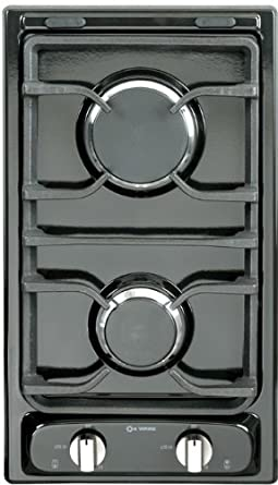 12 Deluxe Gas Cooktop with 2 Burners Finish Black