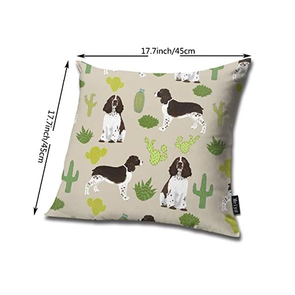 Brecoy English Springer Spaniel Dog Fabric Cactus Dog Design English Springer Spaniel Dogs Design Cactus Cushions Case for Sofa Home Decorative Pillowcase Gift Ideas Zippered Pillow Covers 18X18Inch 2