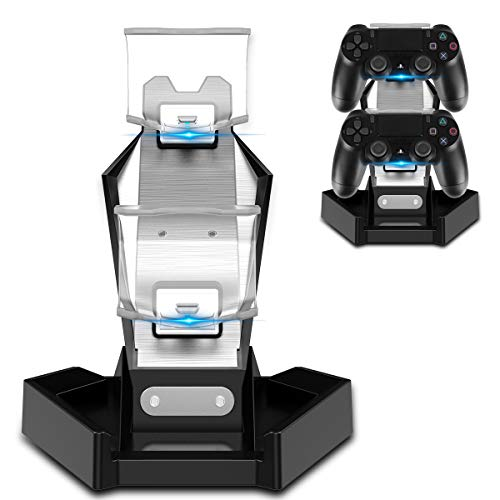 (PHOINIKAS PS4/PS3 Controller Charger Charging Station with Dual USB Charger Stand for Playstation 4/PS4/PS4 Pro/PS4/PS3 Slim Controllers- Fast Charging Dock & LED Indicator &Arm Bracket US Stock)