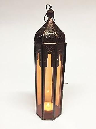 Orientalische Laterne Aus Metall Glas Atira Orange 29cm