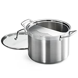 tramontina 80120 509ds lock drain pasta cooker pot with strainer lid 18 8. Black Bedroom Furniture Sets. Home Design Ideas