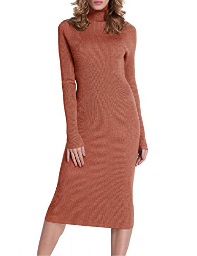 Roco roca Women's Turtleneck Ribbed Elbow Long Sleeve Knit Sweater Dress Tangerine S