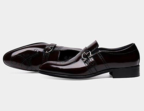 Zapatos Clásicos de Piel para Hombre Zapatos de cuero de los hombres tallados a mano Moda formal de negocios marea de estilo británico ( Color : Negro , Tamaño : EU38/UK5.5 ) Vino Rojo