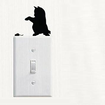 Sticker pour Interrupteur Prise Switch Motif Chat Autocollant Mural en Vinyle pour D/écoration de Chambre Chat Autocollant Mural Interrupteur D/écorations Chambre de b/éb/é Stickers Chat Noir WINJIN