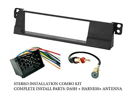 BMW - Stereo wiring Harness, Dash Install Kit Faceplate, with FM Antenna Factory E Stereo Wiring Diagrams on