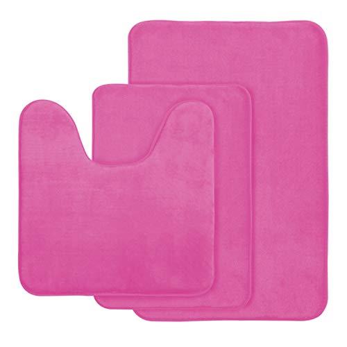(AOACreations Non Slip Memory Foam Bathroom Bath Mat Rug 3 Piece Set, Includes 1 Large 20