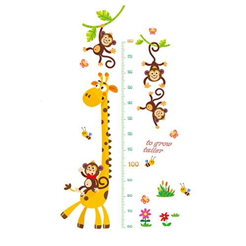Top of top store Cute Height Measurement Wall Stickers Growth Chart Removable Wallpaper Home Decor Baby Boys Girls Kids Bedroom Room Window Decals (Giraffe Monkey Growth Measurement)