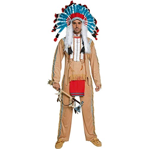 Smiffy's Men's Authentic Western Indian Chief Costume, Top and pants, Western, Serious Fun, Size M, (Authentic Indian Costumes)