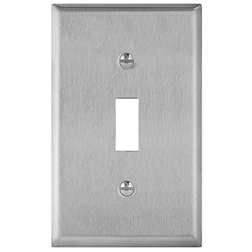 (Enerlites 7711 Toggle Switch Stainless Steel Wall Plate 1-Gang, Standard Size, 430 Grade Metal Plate Alloy Corrosive Resistant Cover for Rotary Dimmers Lights)