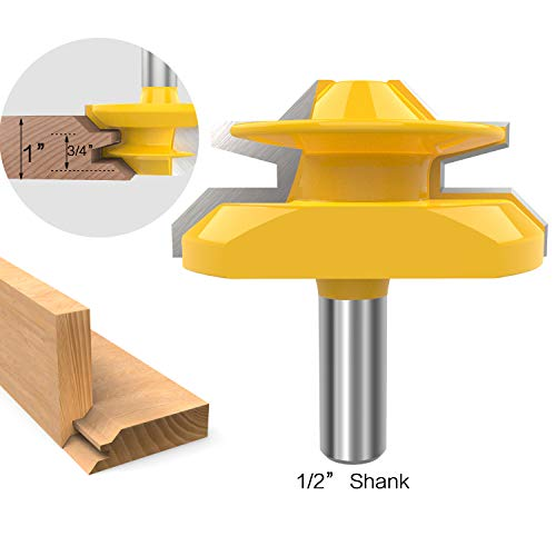 1/2 Inch Shank 45 Degree Lock Miter Router Bit 3/4 to 1 Inch Stock Joint Router Bit Woodworking Cutter Tool