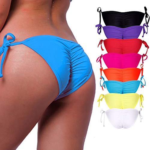 (STARBILD Women's Sexy Brazilian Bikini Bottom with Tie-Side Cheeky V Cut Thong Swimsuit XL Blue )