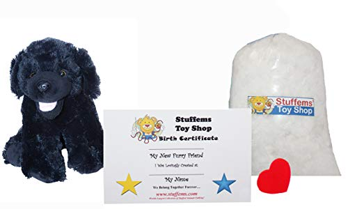 Make Your Own Stuffed Animal Mini 8 Inch Plush Black Lab Dog Kit - No Sewing Required! -