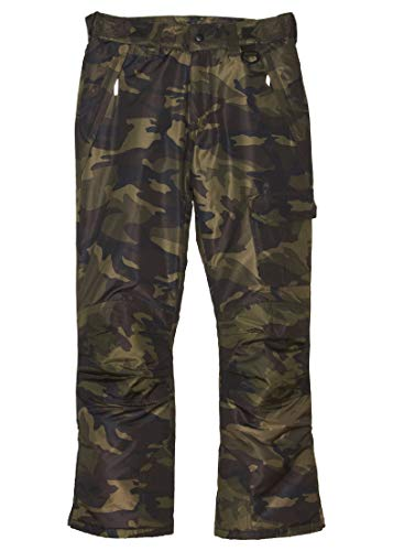 Arctic Quest Boys & Girls Water Resistant Insulated Ski Snow Pants, Green Camo, 7/8 ()