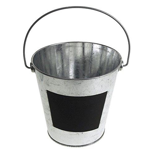 Homeford Galvanized Metal Bucket with Chalkboard Label, Silver (5-1/2-Inch)