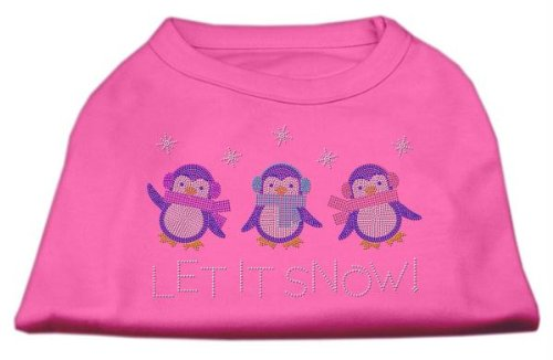 Mirage Pet Products 8-Inch Let it Snow Penguins Rhinestone Print Shirt for Pets, X-Small, Bright Pink