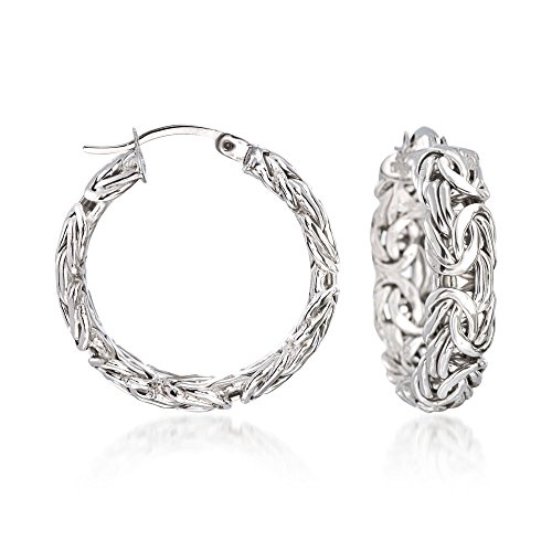 Ross-Simons Sterling Silver Small Byzantine Hoop Earrings by Ross-Simons
