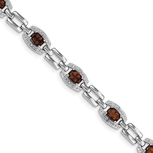 ICE CARATS 925 Sterling Silver Diamond Red Garnet Bracelet 7 Inch Gemstone Fine Jewelry Gift Set For Women Heart by ICE CARATS
