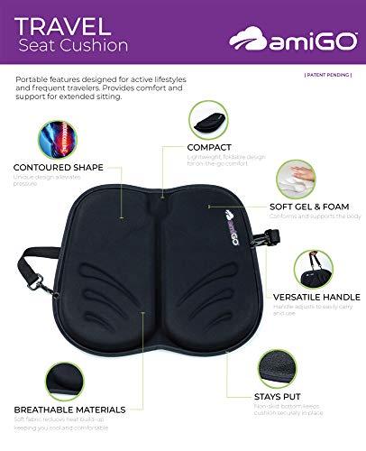 amiGO Travel Seat Cushion, Gel & Foam Portable Cushion, Folds in Half, Versatile Handle, Relieves Back Pain, Coccyx-Cutout by amiGO (Image #5)