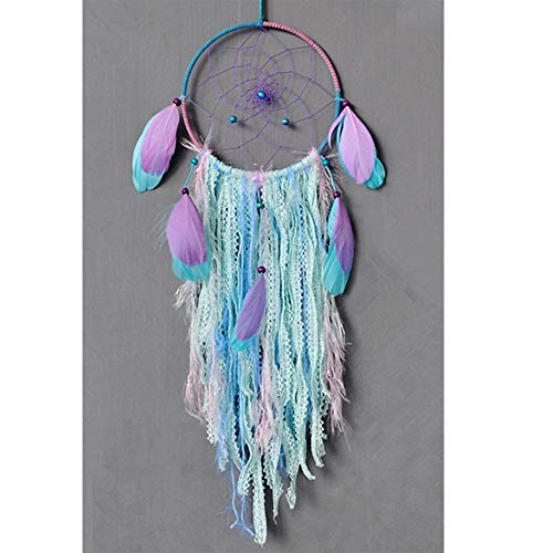 (Dream Catcher Handmade Traditional White Feather Wind Chime Wall Hanging Home Decoration (Purple Bohemia Dream Catcher))