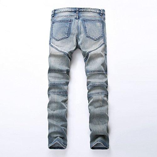 Distrutto Jeans Sdrucito Patchato Jeans Destroyed Pantaloni Denim uomo Jeans Casuale Biker Blu Cut Ultime Distrutti Uomo Moda Strappato tBwqgv