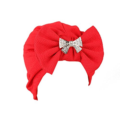 Coerni Top Fashion Women Cotton Bowknot and Jewelry Deco Muslim India Ruffle Turban Head Wrap Cap/Slouchy Beanie Hat (Red) - Muslim Costume For Female