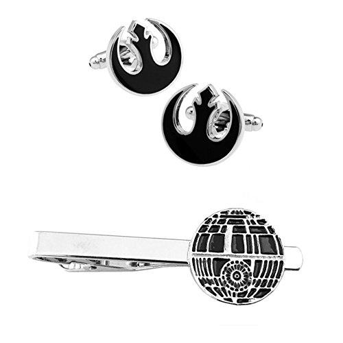 - Outlander Rebel Black Cufflink & Death Star Tiebar - New 2018 Star Wars Movies - Set of 2 Wedding Logo w/Gift Box